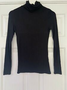 Ladies Black Long Sleeve Polo Neck Top NEW LOOK Size10