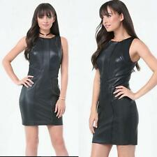 NWT bebe black talia double zip back faux leather top dress XXS 00 cocktail sexy