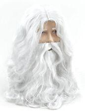 MENS WHITE WIG & BEARD WIZARD MERLIN OLD MAN GOD SANTA LONG HAIR FANCY DRESS