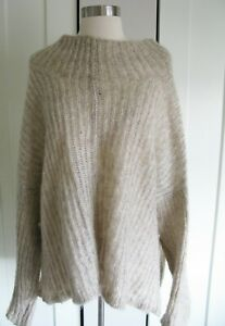 Eileen Fisher Sweater Open Knit   Pullover Mohair & Wool   XL  Lite  Oatmeal