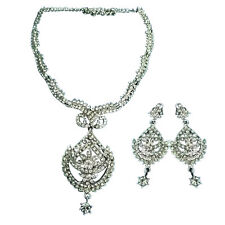 Silver White Clear Stone Studded Earrings Necklace Wedding Bridal Jewelry Set
