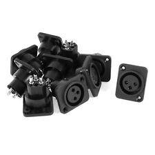 Audio XLR Female Jack Panel Mount Socket Black Silver Tone 10 Pcs