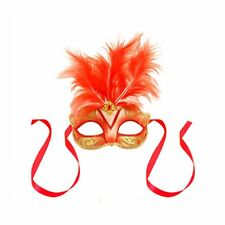 Red Centre Feather Glitter Mask Venetian Style Masquerade Ball Party Face Mask