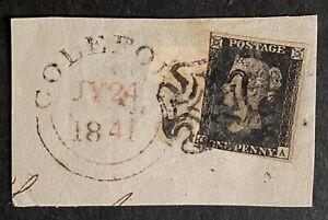 1840 1d Penny Black Black MX on Piece,  Coleford ? - Very Nice Example