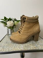Kickers 39 UK 6 brown tan suede leather rubber heeled boots lace up GC country