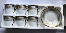 Neue Espresso-, Mokka-, Turkish Coffee Tassen, 6 Stück weiß und gold, Porzellan