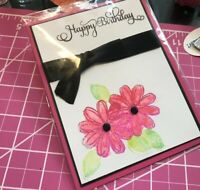Birthday Card Hand Stamps Flowers Sparkle Ribbon Handmade