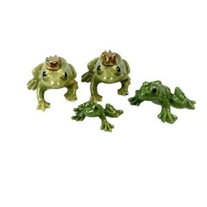 Frog Figurine Lot Ceramic Tiny Frogs Lot of 4 VTG