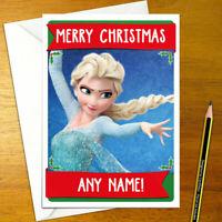 FROZEN Personalised Christmas Card - disney elsa happy xmas holiday