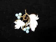 Sarah Cov Signed Vintage Pin Brooch I Gold Tone White Blue Leaf Floral Enamel