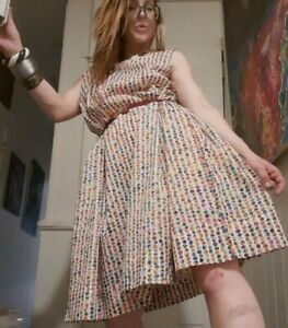 Vintage 1980's Silk Plus Sized Baby Doll Day Dress w/ Rainbow Polka-dots & Lace