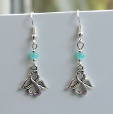 Angel Earrings with Sterling Silver Hooks And Blue Beads New LB1013