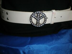 JUSTICE, GIRL'S WHITE  MAN MADE PEACE SIGN STONE STUDDED BUCKLE BELT, SIZE L