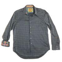 Robert Graham Mens Long Sleeve Button Up Shirt Flip Cuff Striped Green Sz Large