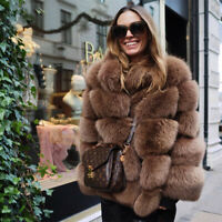 Top Women Natural Full Pelt Real Fox Fur Coat Jacket Stand Collar Thick Overcoat
