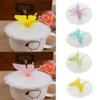 Butterfly Silicone Leakproof Coffee Mug Suction Lid Cap Airtight Seal Cup Cover