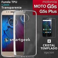 FUNDA TPU Gel TRANSPARENTE para MOTOROLA MOTO G5s / G5s PLUS + CRISTAL TEMPLADO
