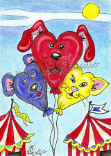 dog cat bear Circus balloon Animals aceo EBSQ Loberg mini Art kitty pup Feline