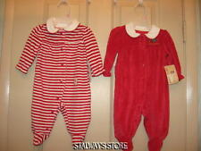 Girls Two Faded Glory Baby Christmas Sleepers Velour Red Ruffles 0-3 Months NWT