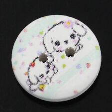 10 Round Wooden Cartoon puppy design Buttons 15mm Sewing Scrapbook Crafts