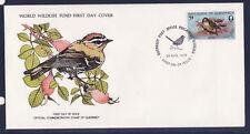 WWF enveloppe 1er jour  Guernsey  oiseau  roitelet a crete rouge