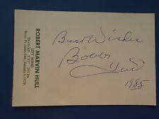 SIGNED BOBBY HULL POST CARD CHICAGO BLACK HAWKS 1985