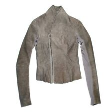 RICK OWENS JACKET - US 6 8 - 40 - GRAY TAUPE LEATHER ASYMMETRICAL ZIPPER SILVER