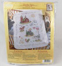 "Bucilla On the Farm Crib Cover 2010 Stamped Cross Stitch Kit 45567 34"" x 43"""