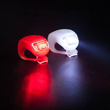 2 LED SILICONE BIKE CYCLE BICYCLE FRONT REAR LIGHT SET CLIP ON LIGHTS FREE P+P