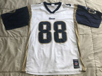 Torry Holt #81 St Louis Rams Reebok NFL Equipment White Jersey ~ Size Large