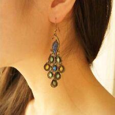 Hook Women Phoenix Bird Boho Retro Eardrop Pea Dangle Earrings Rhinestone Blue