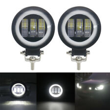 2Pcs 30W Spot LED Round Work Light Lamps+White Halo Ring for Jeep 4x4 ATV Truck