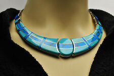 TAXCO Mexico TS-101 Sterling Silver 950 Turquoise Inlay Hinged Choker Necklace