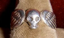 Cool 1960's - 1970's Biker Winged Skull Ring in .925 Silver Made in Mexico