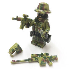CUSTOM Camouflage Green Army Man Soldier Minifigure & Lego Bricks