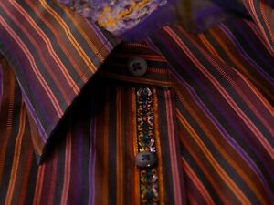 Robert Graham Bold Purple Striped Shirt Medium 13617