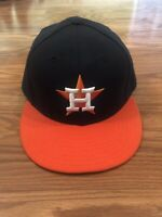 New Era Houston Astros ROAD 59Fifty Fitted Hat (Navy/Orange) MLB Cap Size 7 1/2