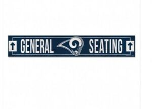 """🏈🏈LOS ANGELES RAMS GENERAL SEATING WOOD SIGN """"6×36"""" GREAT FOR THE MAN CAVE🏈🏈"""