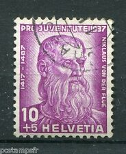 SUISSE SCHWEIZ 1937, timbre 304, NICOLAS de FLUE, CELEBRITE, CELEBRITY, oblitéré