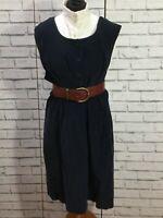 90s Vintage Black Pinafore  Cord Midi Length Dress Size L