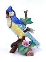 Vintage Ceramic Blue Jay Bird On Flowering Branch Figurine