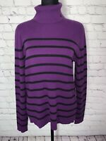 NWT! Ralph Lauren Sweater Women's Pull Over Turtle Neck  Purple Black Striped XL