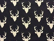 RPFAR17C Deer Antlers Buck Retro Charcoal White Scandinavian Cotton Quilt Fabric