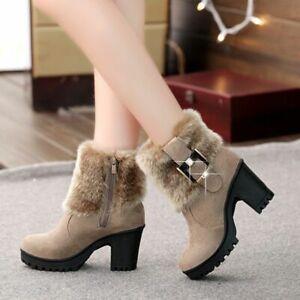 Zapatos De Invierno Para Mujer Botas De Tacón Cuadrado Hebilla Lujo Piel Cálida