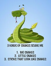 METAL REFRIGERATOR MAGNET Snakes Scare Me Big Little Sticks Friend Family Humor