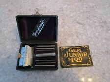 Vintage GEM Junior SE Razor, Gem Cutlery Co. 8-28-1900, 7 blades, Nice case