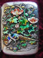 Silver Art Nouveau Enamelled Pheasant Flowers Cigarette Case Japanese Meiji