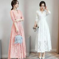 Lace Womens Slim V-neck 3/4 Sleeve Lace Long Dress A-Line Casual Party Gown