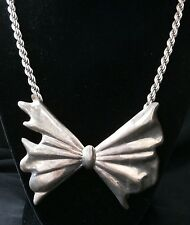 vintage sterling silver bow-tie and ope necklace,very heavy #g39