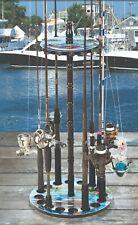16 Rod Fishing Pole Holder Organizer Rack Stand Storage Round Floor Stand Reel